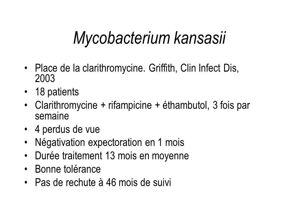 Place de la clarithromycine. Griffith, Clin Infect Dis, 2003 18 patients Clarithromycine + rifampicine + éthambutol, 3 fois par semaine 4 perdus de vu