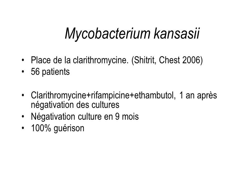 Place de la clarithromycine. (Shitrit, Chest 2006) 56 patients Clarithromycine+rifampicine+ethambutol, 1 an après négativation des cultures Négativati