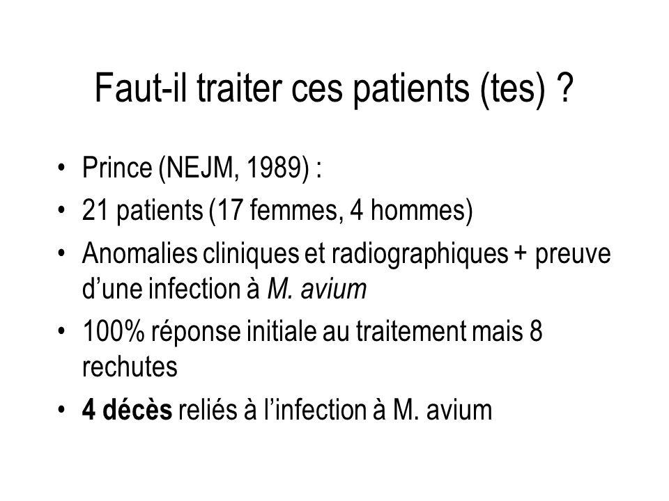 Faut-il traiter ces patients (tes) ? Prince (NEJM, 1989) : 21 patients (17 femmes, 4 hommes) Anomalies cliniques et radiographiques + preuve dune infe