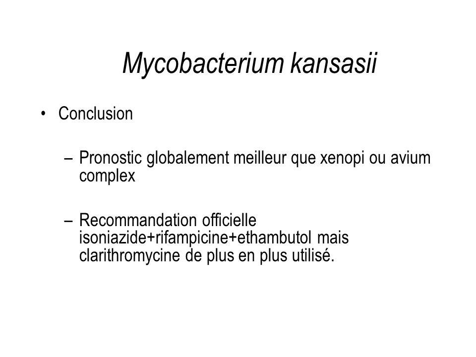 Conclusion –Pronostic globalement meilleur que xenopi ou avium complex –Recommandation officielle isoniazide+rifampicine+ethambutol mais clarithromyci