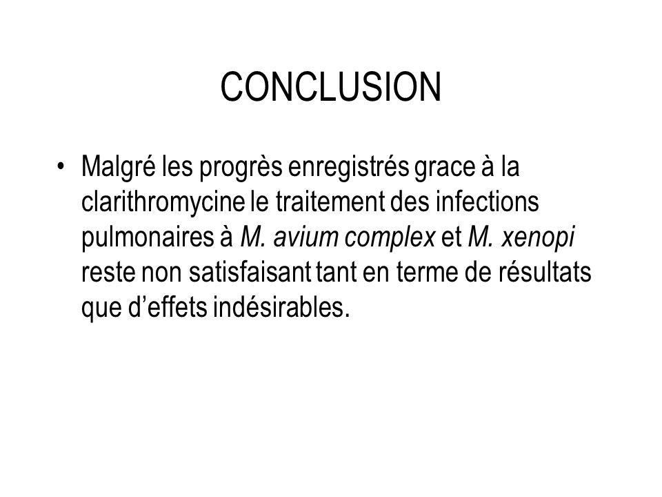 CONCLUSION Malgré les progrès enregistrés grace à la clarithromycine le traitement des infections pulmonaires à M. avium complex et M. xenopi reste no