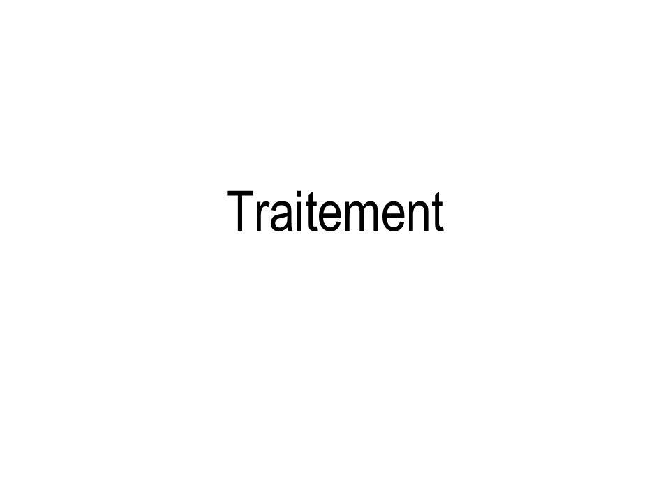 Mycobacterium avium complex Facteurs influençant la réponse au trt –Charge bacillaire initiale –Antécédent de trt > 6 mois –Sensibilité à la clarithromycine –Forme clinique Facteurs ninfluençant pas la réponse au trt –Comorbidités –Extension initiale de la maladie –Utilisation de kanamycine