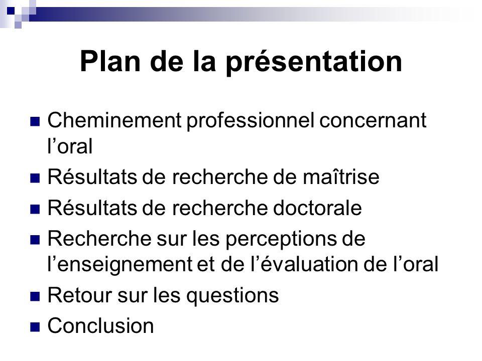 Plan de la présentation Cheminement professionnel concernant loral Résultats de recherche de maîtrise Résultats de recherche doctorale Recherche sur l
