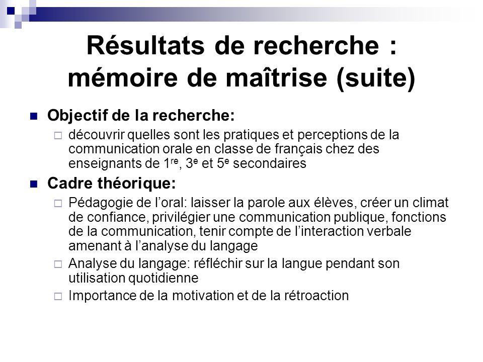 Résultats de recherche : mémoire de maîtrise (suite) Objectif de la recherche: découvrir quelles sont les pratiques et perceptions de la communication
