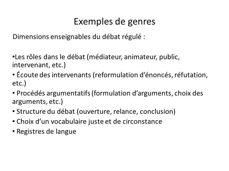 Exemples de genres Dimensions enseignables du débat régulé : Les rôles dans le débat (médiateur, animateur, public, intervenant, etc.) Écoute des inte