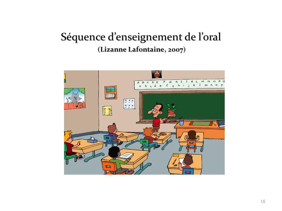 16 Séquence denseignement de loral (Lizanne Lafontaine, 2007) (Lizanne Lafontaine, 2007)