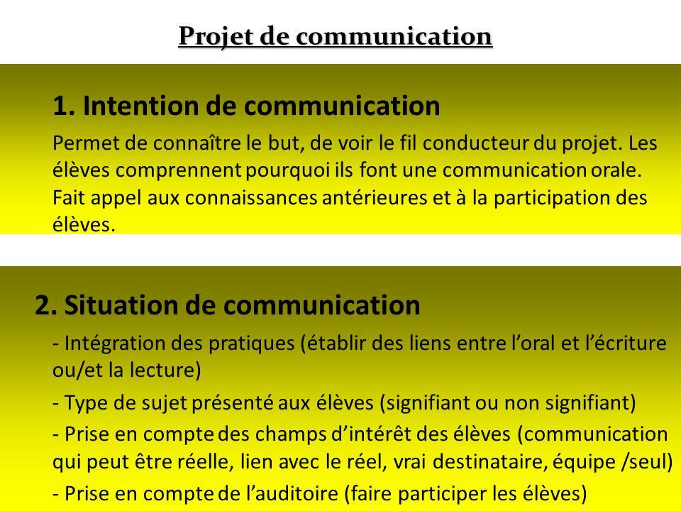 18 1. Intention de communication Permet de connaître le but, de voir le fil conducteur du projet. Les élèves comprennent pourquoi ils font une communi
