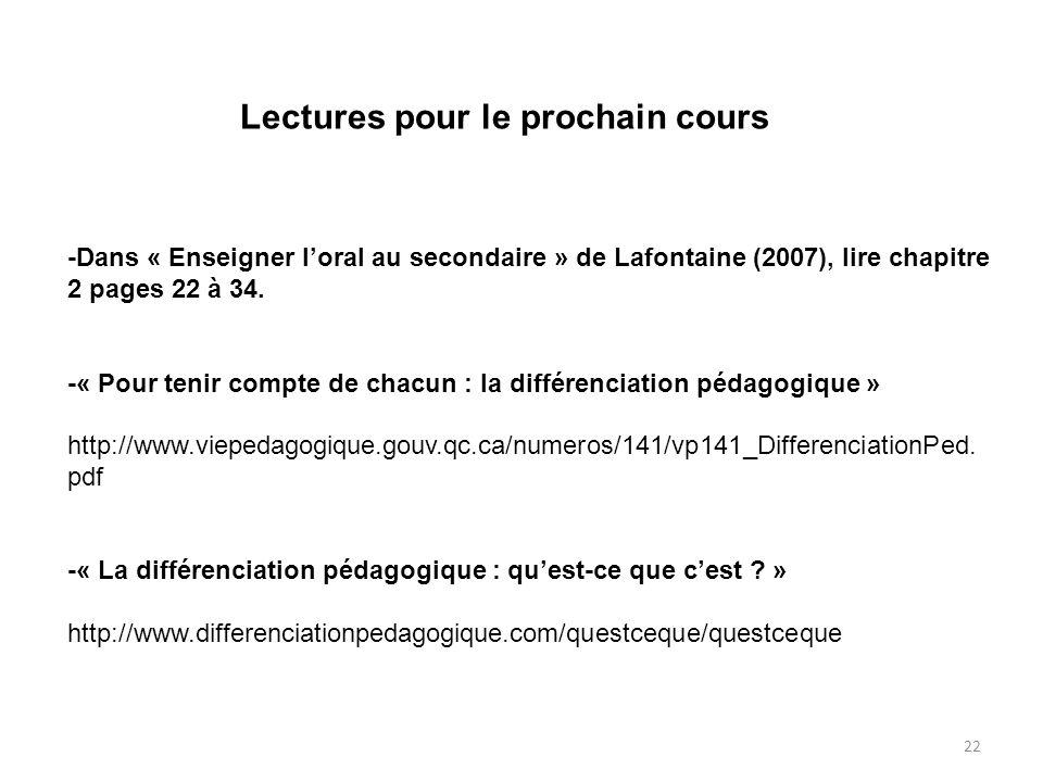22 Lectures pour le prochain cours -Dans « Enseigner loral au secondaire » de Lafontaine (2007), lire chapitre 2 pages 22 à 34. -« Pour tenir compte d