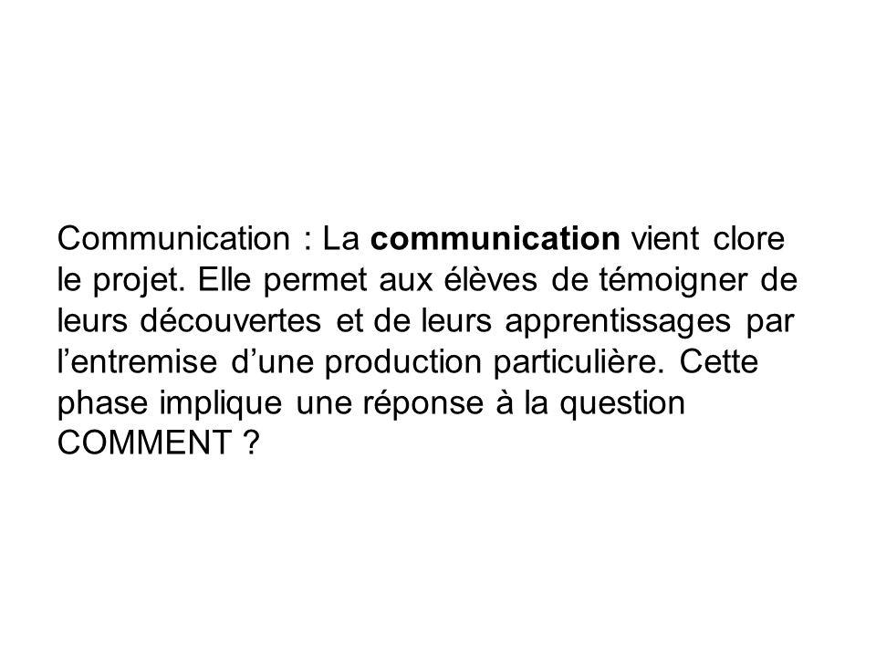 Communication : La communication vient clore le projet. Elle permet aux élèves de témoigner de leurs découvertes et de leurs apprentissages par lentre