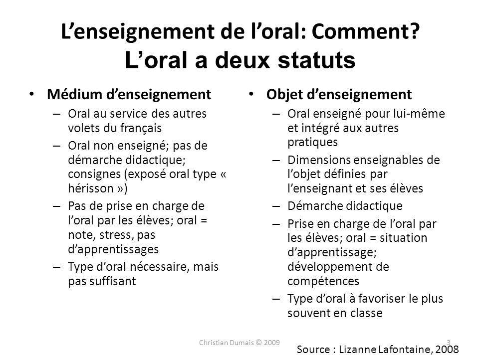 Lenseignement de loral: Comment? Loral a deux statuts Médium denseignement – Oral au service des autres volets du français – Oral non enseigné; pas de