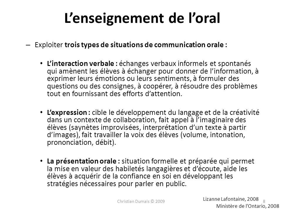 Lenseignement de loral – Exploiter trois types de situations de communication orale : Linteraction verbale : échanges verbaux informels et spontanés q