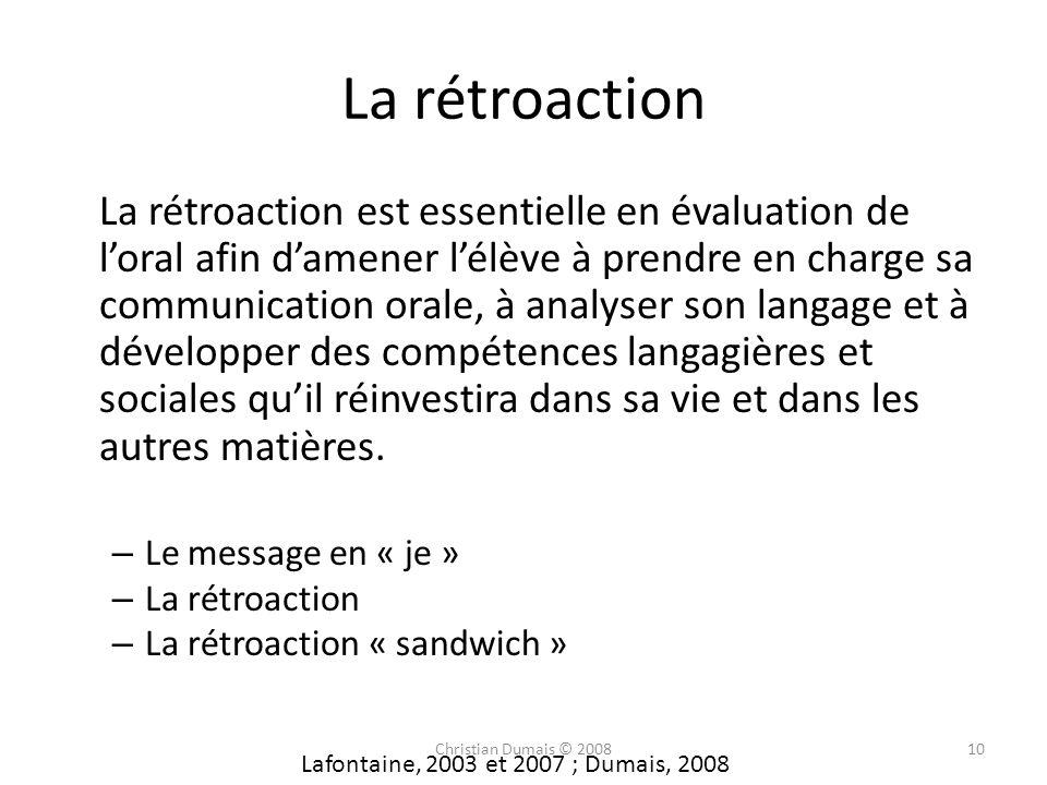 La rétroaction La rétroaction est essentielle en évaluation de loral afin damener lélève à prendre en charge sa communication orale, à analyser son la