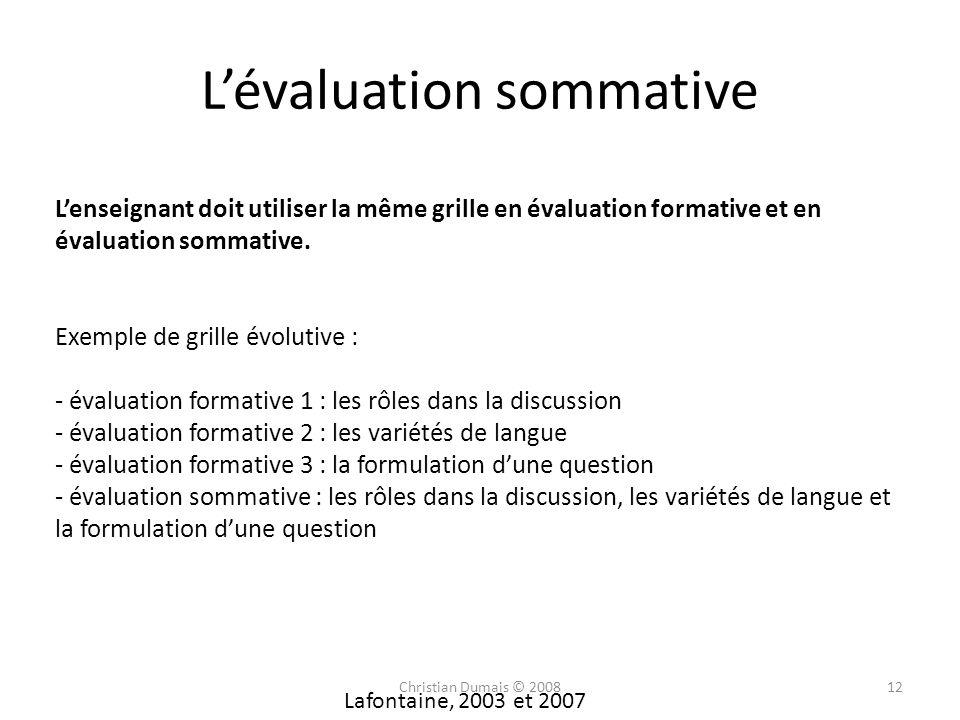 Lévaluation sommative Lenseignant doit utiliser la même grille en évaluation formative et en évaluation sommative. Exemple de grille évolutive : - éva