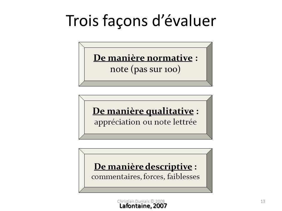 De manière normative : note (pas sur 100) De manière qualitative : appréciation ou note lettrée De manière descriptive : commentaires, forces, faibles
