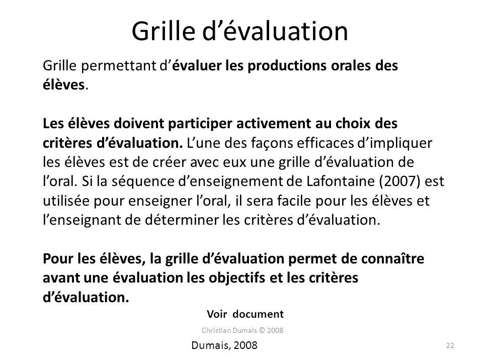 Grille dévaluation Grille permettant dévaluer les productions orales des élèves. Les élèves doivent participer activement au choix des critères dévalu