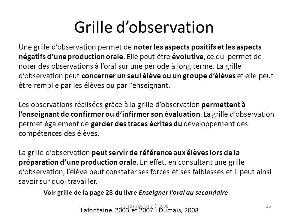 Grille dobservation Une grille dobservation permet de noter les aspects positifs et les aspects négatifs dune production orale. Elle peut être évoluti