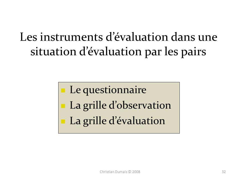 Les instruments dévaluation dans une situation dévaluation par les pairs Le questionnaire La grille dobservation La grille dévaluation 32Christian Dum