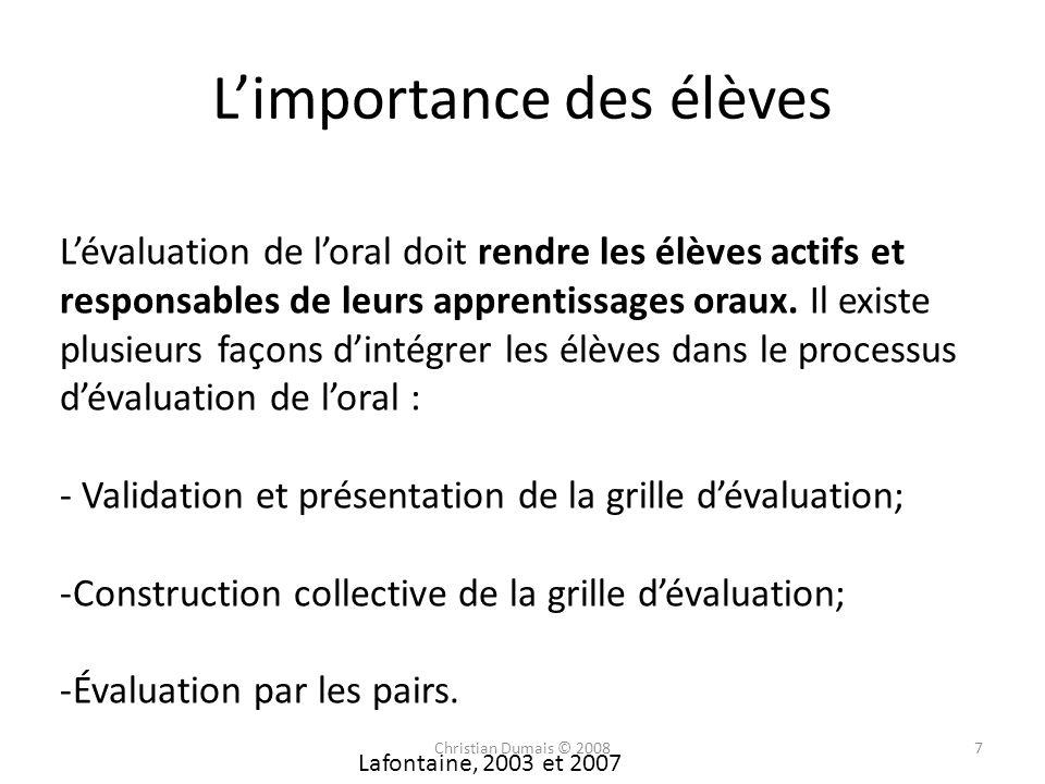 Limportance des élèves Lafontaine, 2003 et 2007 Lévaluation de loral doit rendre les élèves actifs et responsables de leurs apprentissages oraux. Il e
