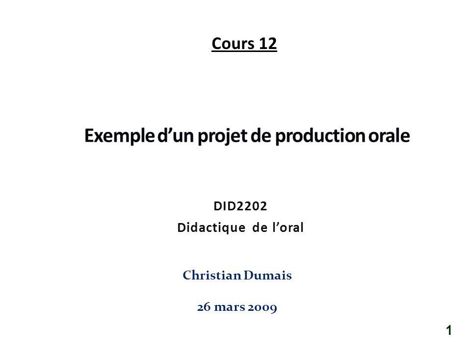DID2202 Didactique de loral Christian Dumais 26 mars 2009 1 Cours 12