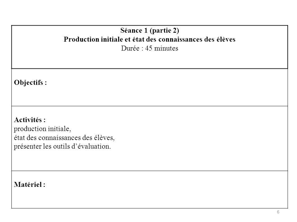 6 Séance 1 (partie 2) Production initiale et état des connaissances des élèves Durée : 45 minutes Objectifs : Activités : production initiale, état de