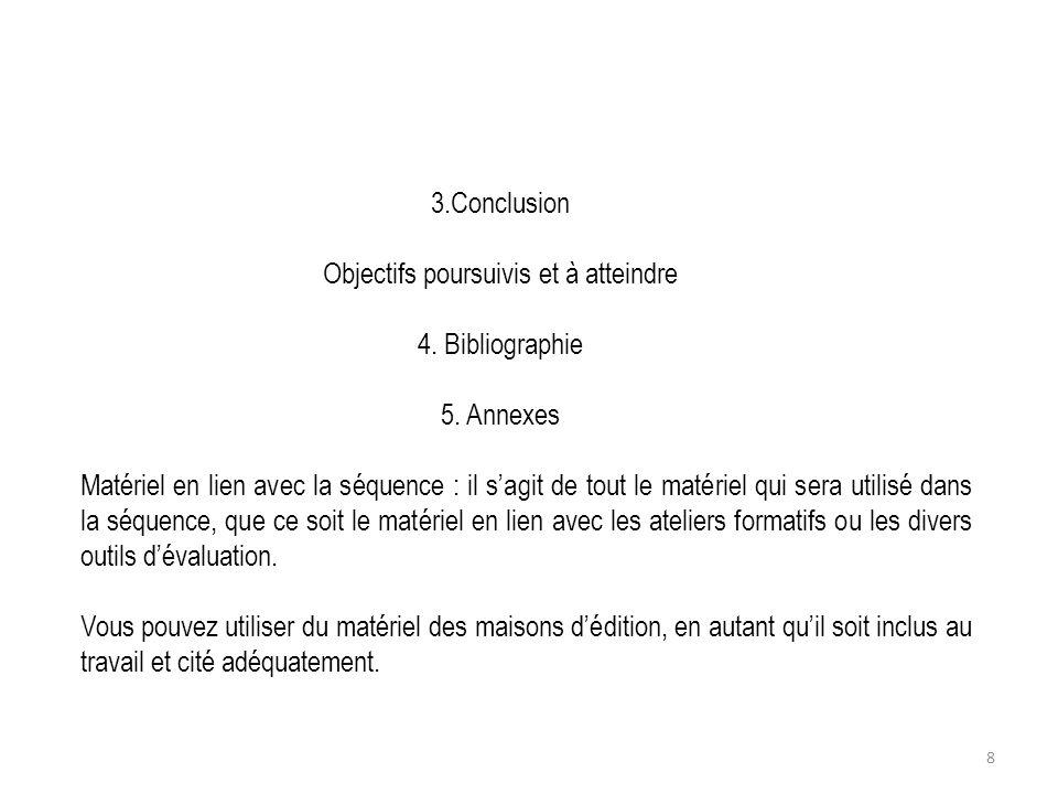 3.Conclusion Objectifs poursuivis et à atteindre 4. Bibliographie 5. Annexes Matériel en lien avec la séquence : il sagit de tout le matériel qui sera