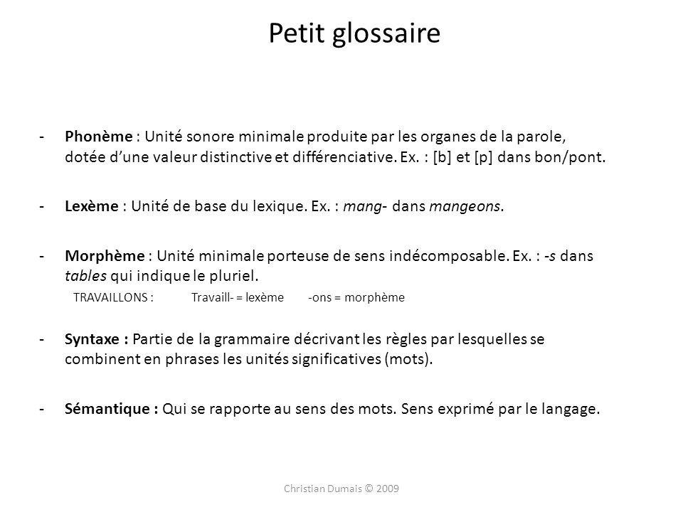 Petit glossaire -Phonème : Unité sonore minimale produite par les organes de la parole, dotée dune valeur distinctive et différenciative.