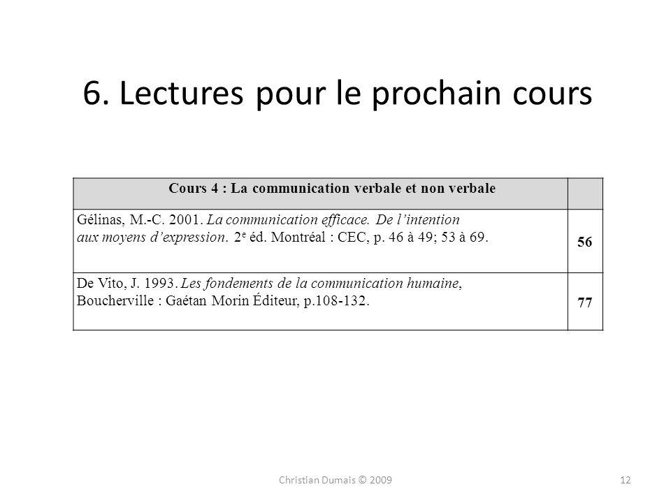6. Lectures pour le prochain cours 12Christian Dumais © 2009 Cours 4 : La communication verbale et non verbale Gélinas, M.-C. 2001. La communication e
