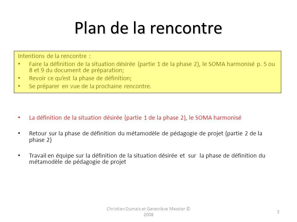 Plan de la rencontre Intentions de la rencontre : Faire la définition de la situation désirée (partie 1 de la phase 2), le SOMA harmonisé p.