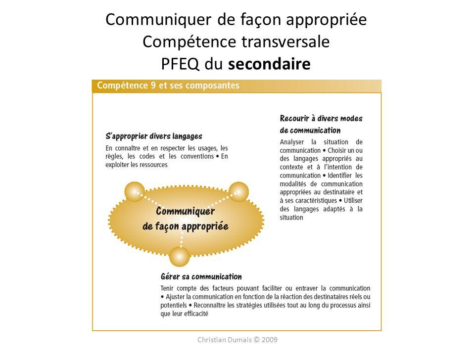 Communiquer de façon appropriée Compétence transversale PFEQ du secondaire