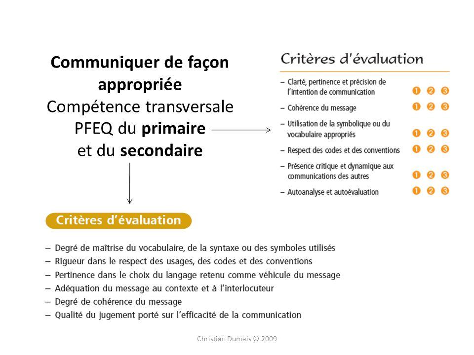 Christian Dumais © 2009 Communiquer de façon appropriée Compétence transversale PFEQ du primaire et du secondaire