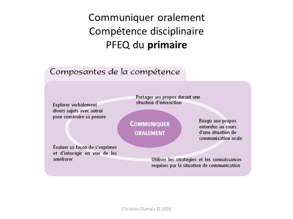 Christian Dumais © 2009 Communiquer oralement Compétence disciplinaire PFEQ du primaire