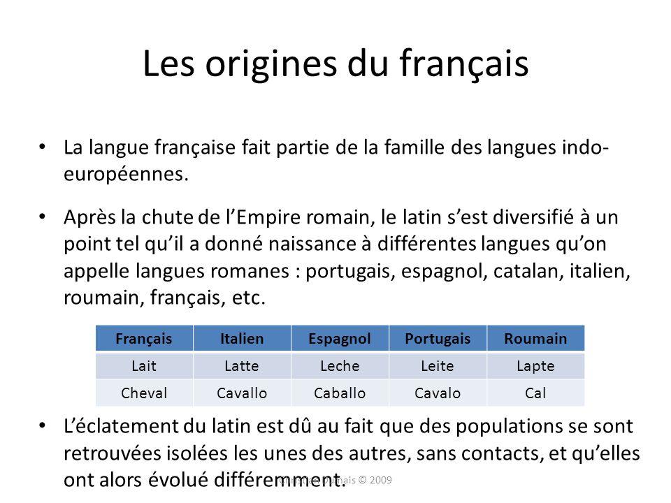 Les origines du français La langue française fait partie de la famille des langues indo- européennes. Après la chute de lEmpire romain, le latin sest