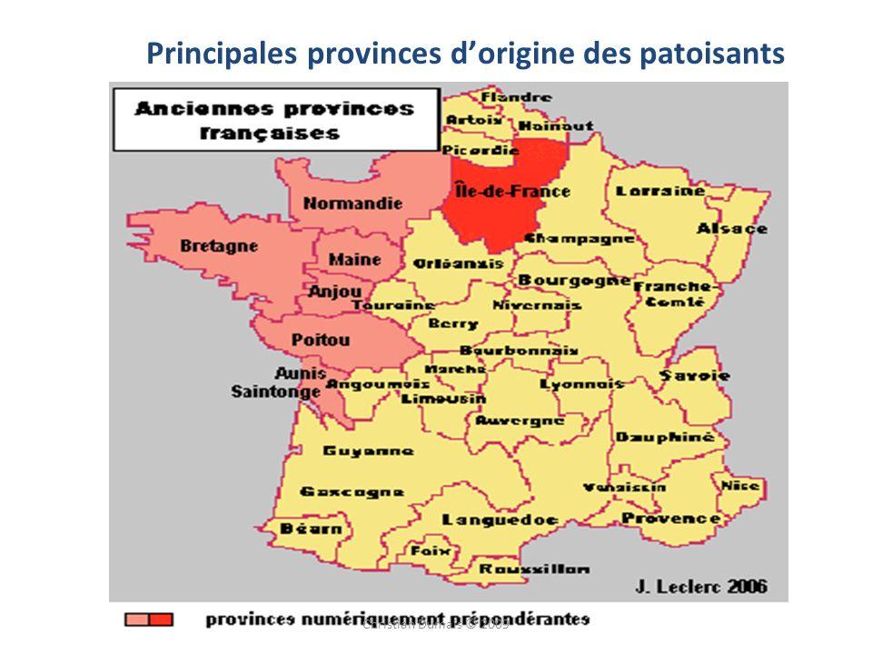 Principales provinces dorigine des patoisants Christian Dumais © 2009