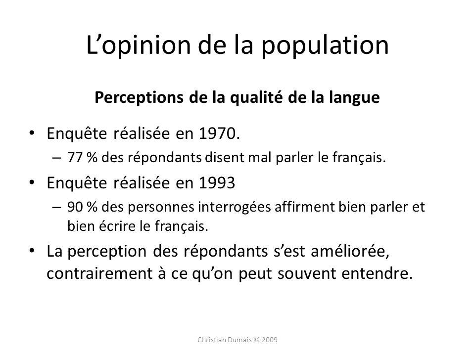 Lopinion de la population Perceptions de la qualité de la langue Enquête réalisée en 1970. – 77 % des répondants disent mal parler le français. Enquêt