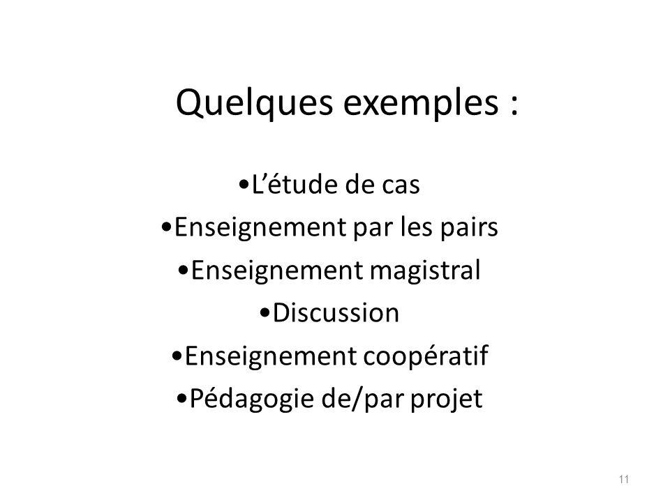 Quelques exemples : Létude de cas Enseignement par les pairs Enseignement magistral Discussion Enseignement coopératif Pédagogie de/par projet 11