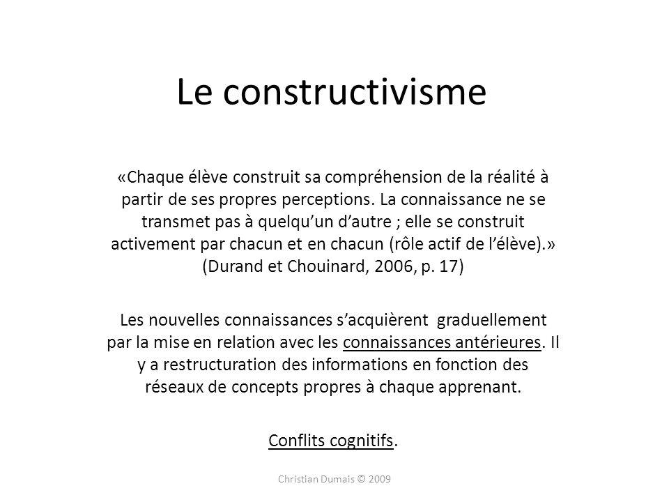 Le constructivisme «Chaque élève construit sa compréhension de la réalité à partir de ses propres perceptions. La connaissance ne se transmet pas à qu