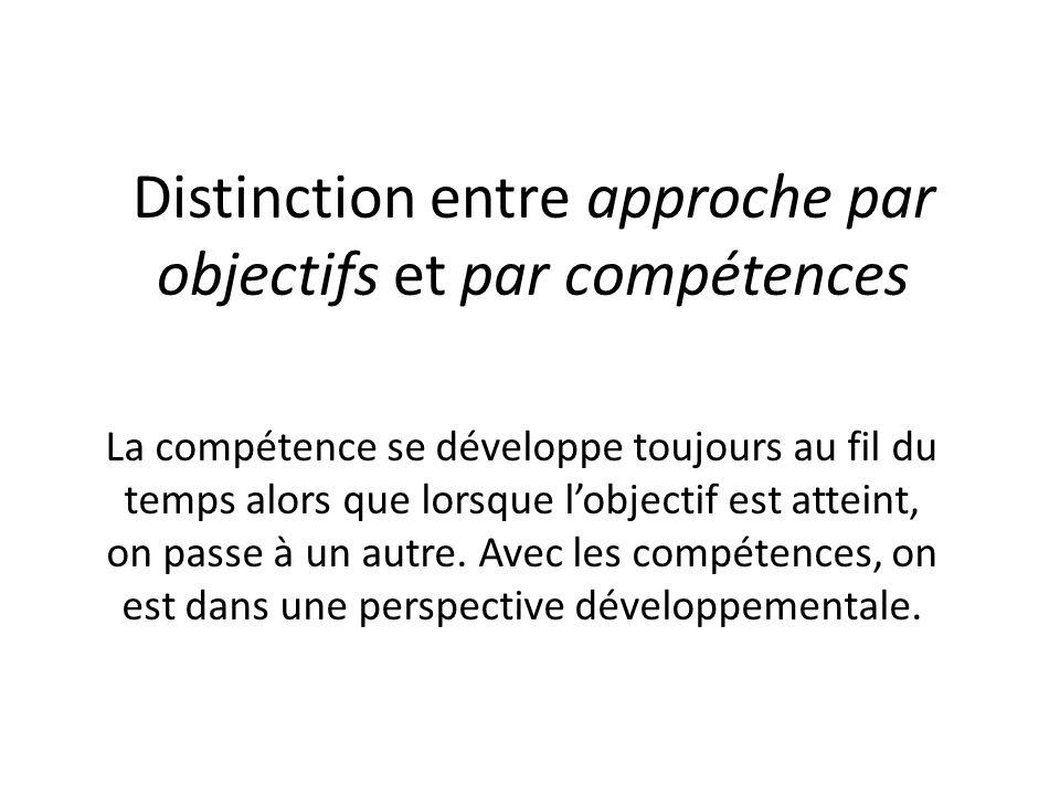 Distinction entre approche par objectifs et par compétences La compétence se développe toujours au fil du temps alors que lorsque lobjectif est attein