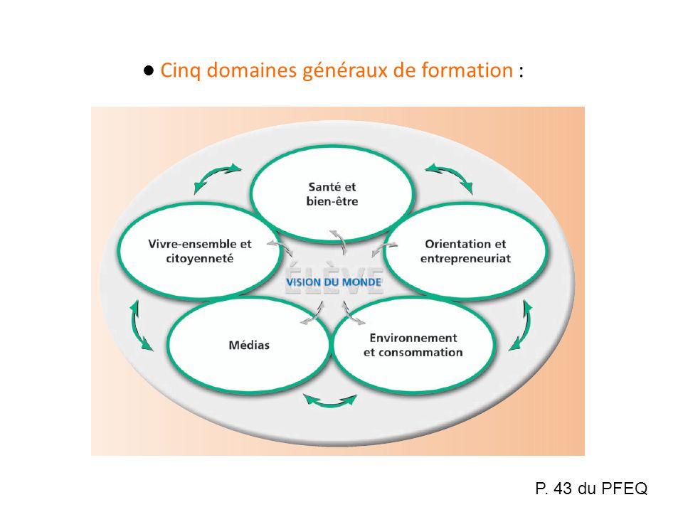 Cinq domaines généraux de formation : P. 43 du PFEQ