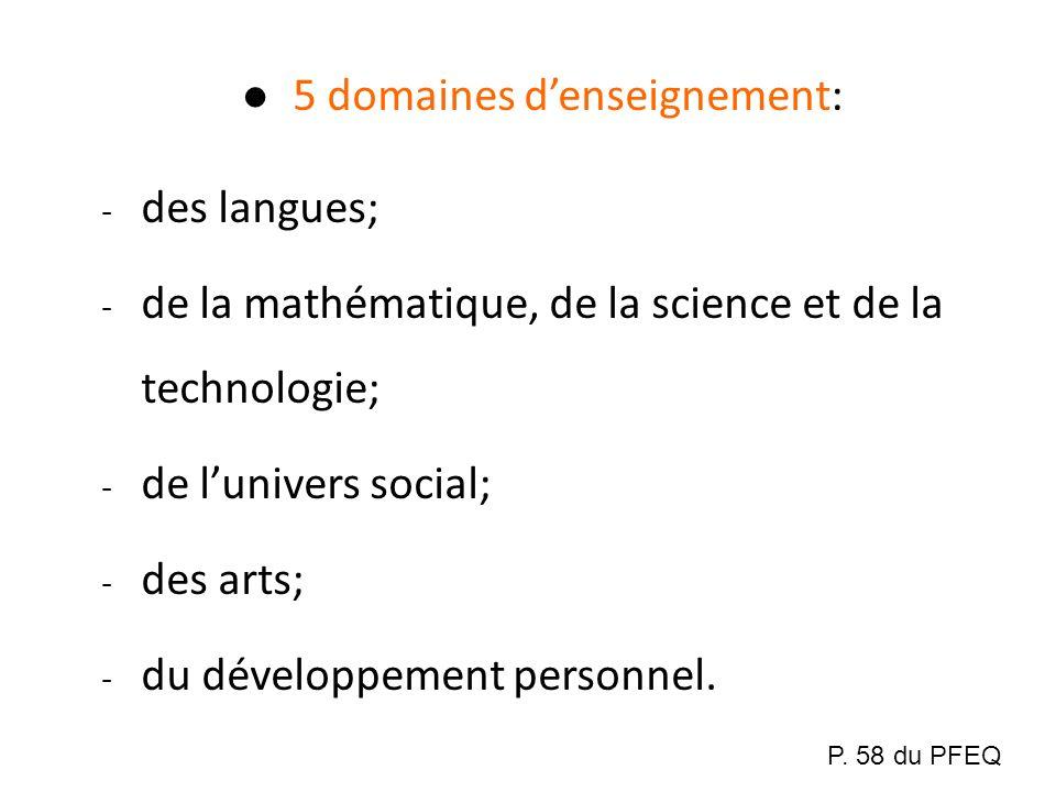 5 domaines denseignement: - des langues; - de la mathématique, de la science et de la technologie; - de lunivers social; - des arts; - du développemen