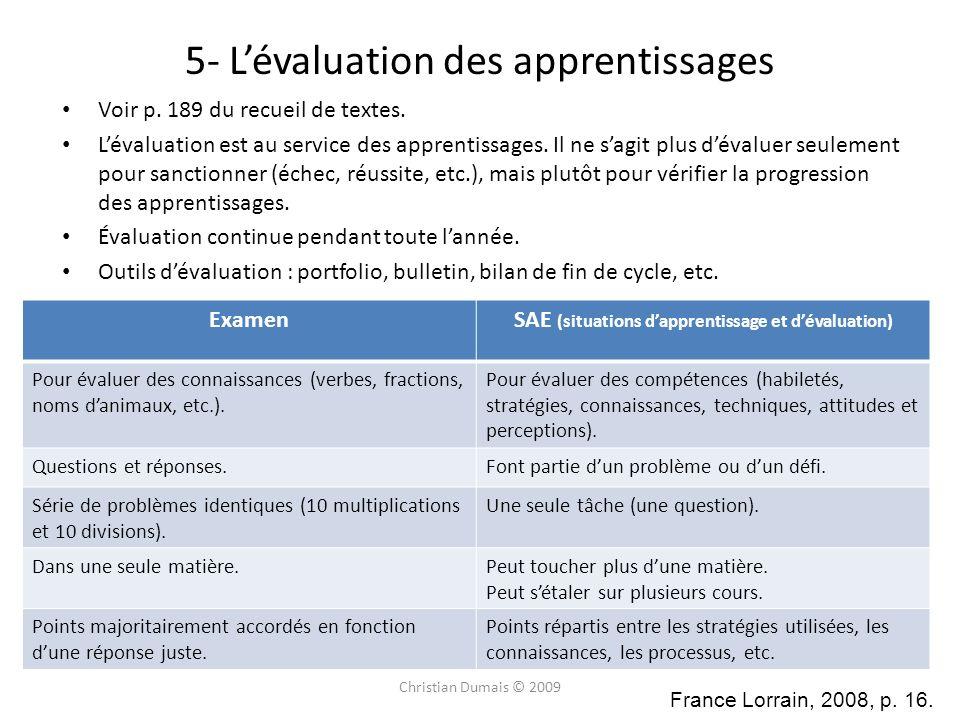 5- Lévaluation des apprentissages Voir p. 189 du recueil de textes. Lévaluation est au service des apprentissages. Il ne sagit plus dévaluer seulement