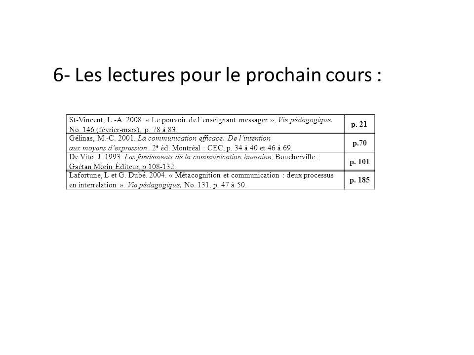 6- Les lectures pour le prochain cours : St-Vincent, L.-A. 2008. « Le pouvoir de lenseignant messager », Vie pédagogique. No. 146 (février-mars), p. 7