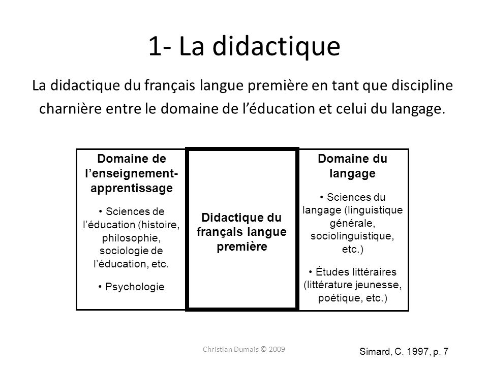 La didactique du français langue première en tant que discipline charnière entre le domaine de léducation et celui du langage. Christian Dumais © 2009