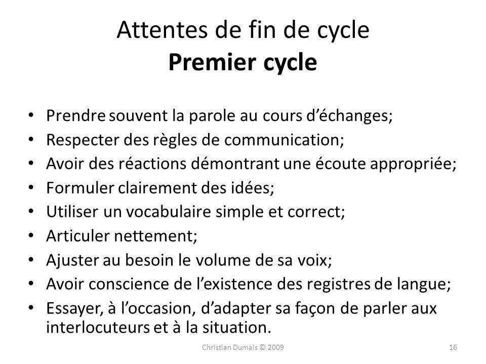 Attentes de fin de cycle Premier cycle Prendre souvent la parole au cours déchanges; Respecter des règles de communication; Avoir des réactions démont
