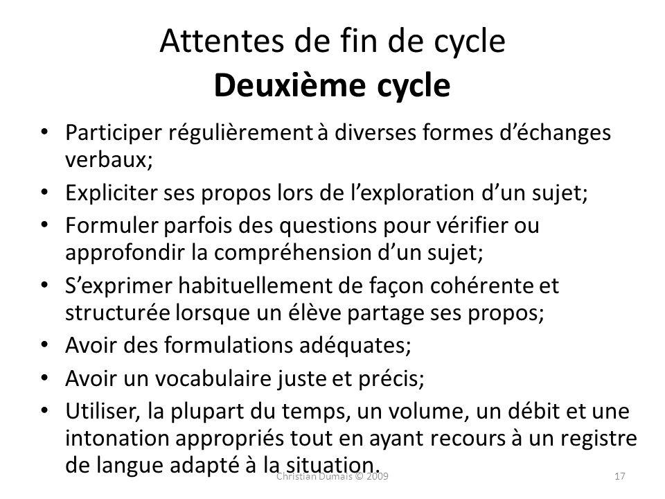 Attentes de fin de cycle Deuxième cycle Participer régulièrement à diverses formes déchanges verbaux; Expliciter ses propos lors de lexploration dun s