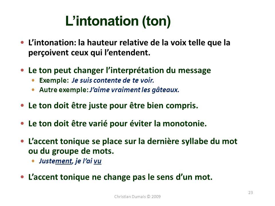 23 Lintonation: la hauteur relative de la voix telle que la perçoivent ceux qui lentendent. Le ton peut changer linterprétation du message Exemple: Je