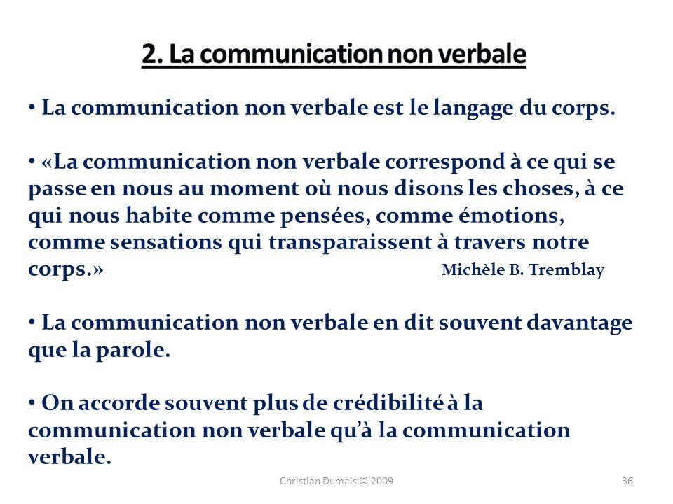 36 La communication non verbale est le langage du corps. «La communication non verbale correspond à ce qui se passe en nous au moment où nous disons l