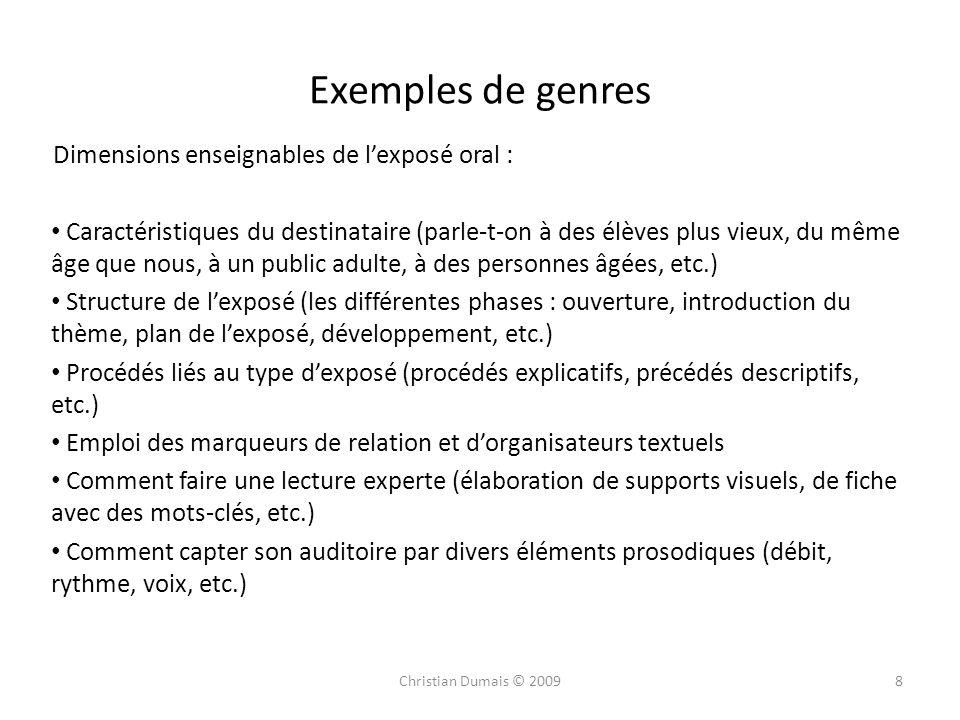 Exemples de genres Dimensions enseignables de lexposé oral : Caractéristiques du destinataire (parle-t-on à des élèves plus vieux, du même âge que nou