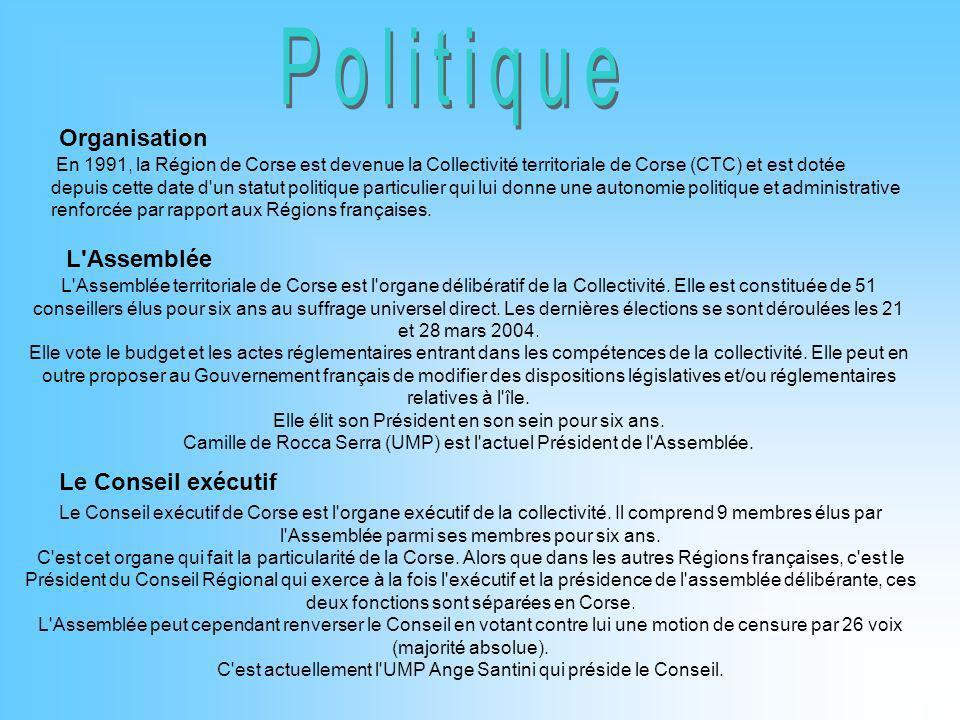 Organisation En 1991, la Région de Corse est devenue la Collectivité territoriale de Corse (CTC) et est dotée depuis cette date d'un statut politique