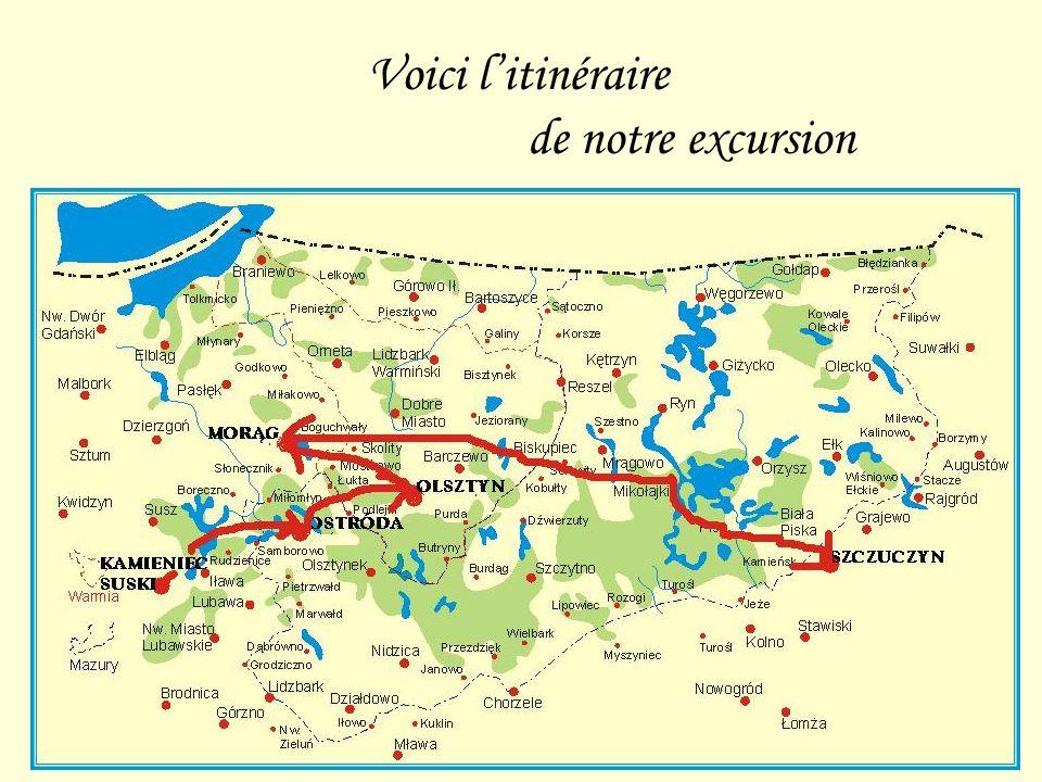 Voici litinéraire de notre excursion