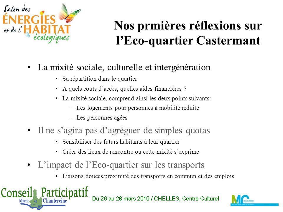 Nos prmières réflexions sur lEco-quartier Castermant La mixité sociale, culturelle et intergénération Sa répartition dans le quartier A quels couts daccès, quelles aides financières .
